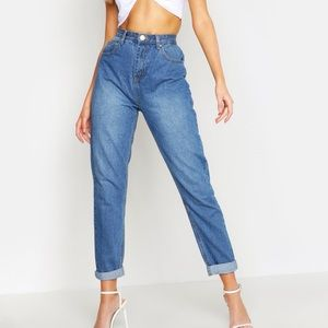 High rise mid wash mom jeans